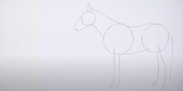 Hoe een paard te tekenen: noteer de nek, maag en rug