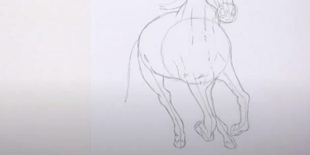 Hoe een paard te tekenen: teken de achterste poten