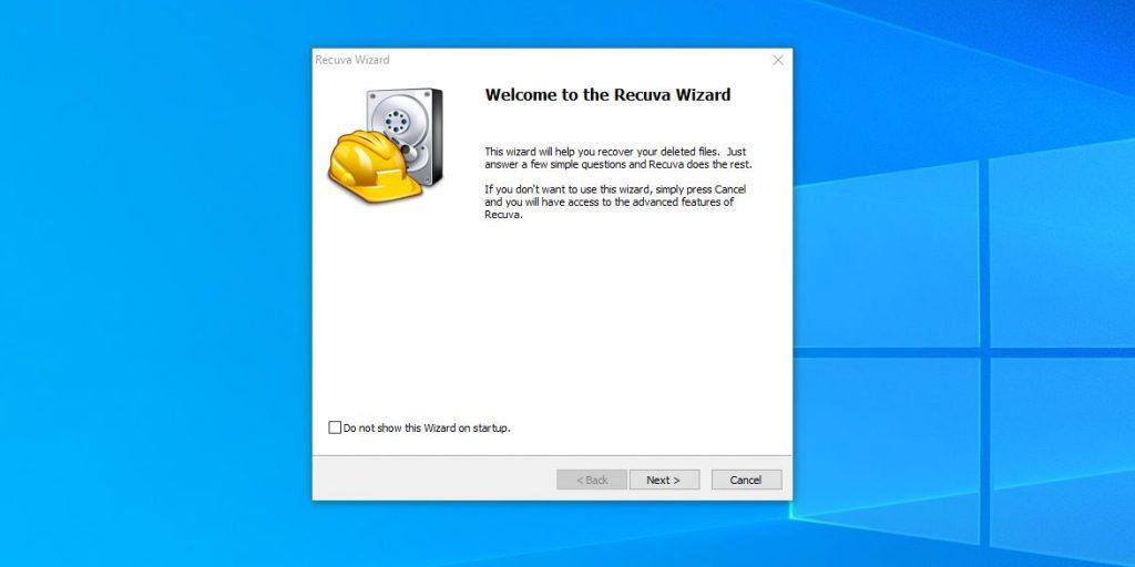 """Como restaurar o controle remoto dos arquivos """"cesta"""" no Windows: Iniciar Recuva e clique em Avançar"""