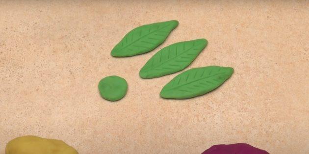 «Гүл» пластилинінен қолөнер: жапырақтар жасаңыз