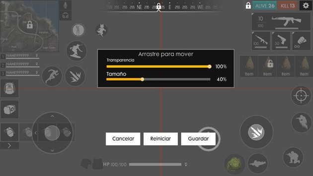 Personalizar transparencia y tamaño de iconos en Free Fire