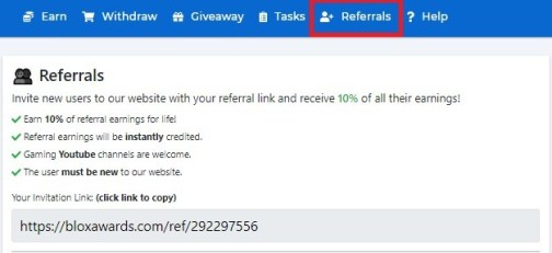 Earn free robux via referrals