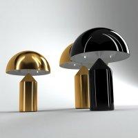 ATOLLO GRANDE Lampe à poser Aluminium Laqué avec Variateur H70cm Noir O Luce,Vico Magistretti ...