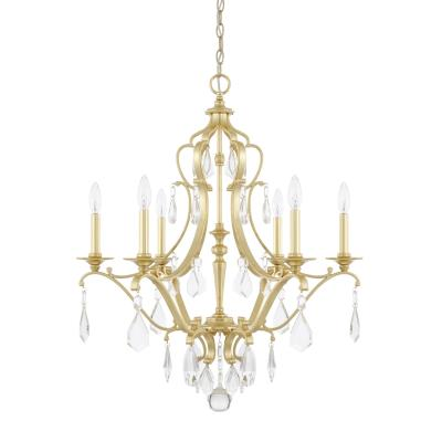 capital lighting six light chandelier in capital gold from the blakely collection 391504