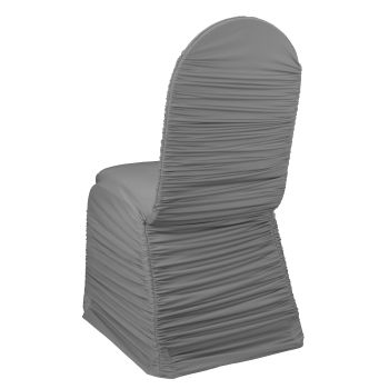 black ruched chair covers adams resin adirondack chairs platinum banquet cover by linens