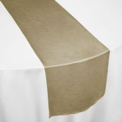 Taupe Chair Covers Accent Ottoman Faux Dupioni Table Runner By Linens