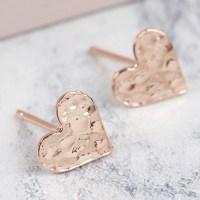 Hammered Heart Stud Earrings | Ladies' Earrings | Lisa Angel