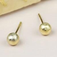 Tiny Brushed Gold Ball Stud Earrings | Lisa Angel Jewellery