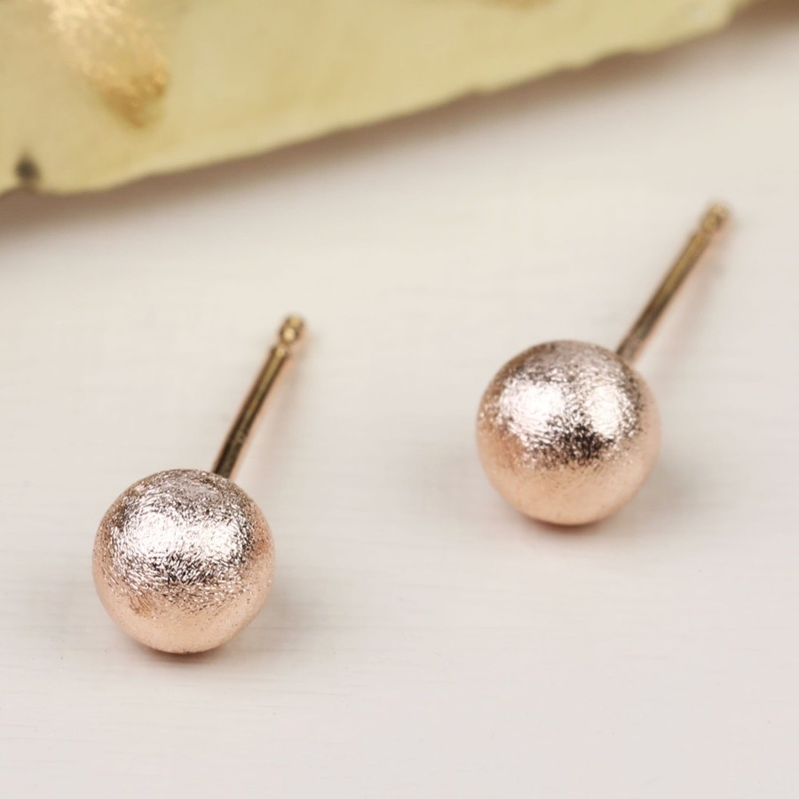 Tiny Brushed Rose Gold Ball Stud Earrings