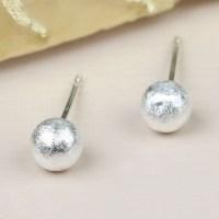 Tiny Brushed Silver Ball Stud Earrings   Lisa Angel Jewellery