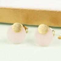 Round Rose Quartz Stud Earrings   Jewellery   Lisa Angel