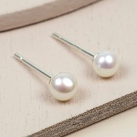Small Ivory Sterling Silver Freshwater Pearl Earrings ...