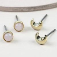 Crescent Moon & Rose Quartz Stud Earring Set   Lisa Angel
