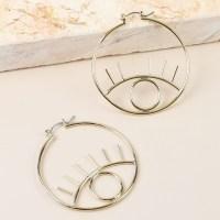 Open Eye Hoop Earrings in Gold