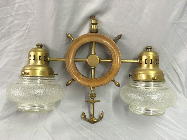Vtg Wood Brass Nautical Ships Wheel Anchor Ceiling Light