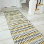 Details About Mustard Gray Hallway Runner Modern Striped Carpet Runner Mat Long Hall Mat