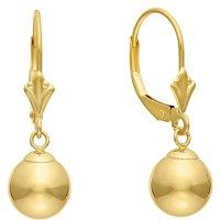 14k Gold 8mm Ball Drop Dangle Leverback Earrings