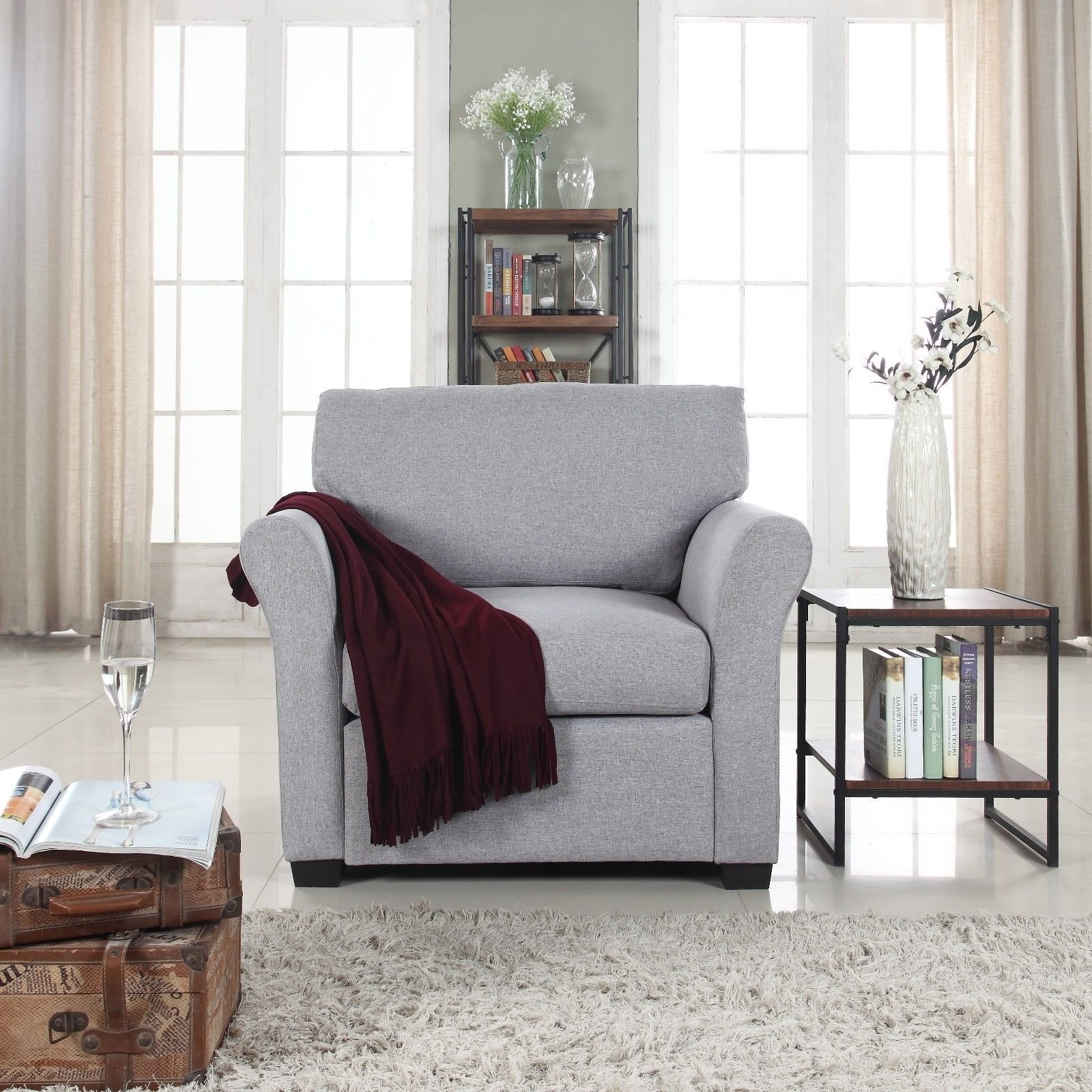 Details About Classic Traditional Linen Fabric Accent Chair Armchair For Living Room Grey