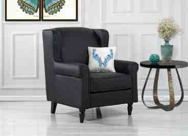 Details About Classic Scroll Arm Faux Leather Accent Chair Living Room Armchair Black