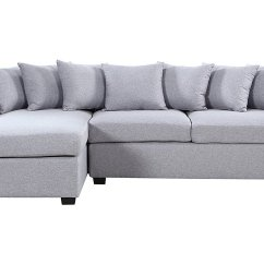 Grey Large L Shaped Sofa Spa Collection Chenille Bed Modern Fabric Sectional Shape Couch Extra