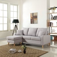 Light Grey Small Space Furniture Sectional Sofa with ...