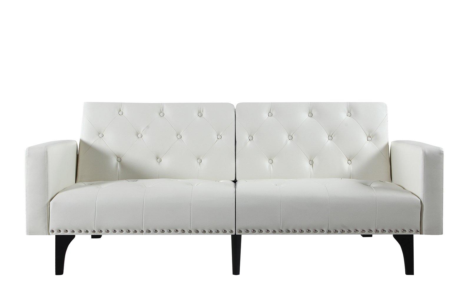leather sleeper sofa with nailheads living room set malaysia modern splitback tufted futon nailhead trim