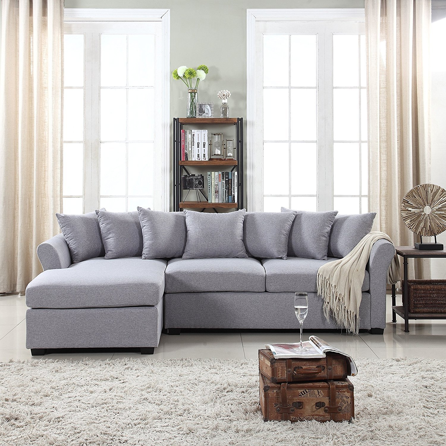 grey large l shaped sofa roma tacchini modern fabric sectional shape couch extra