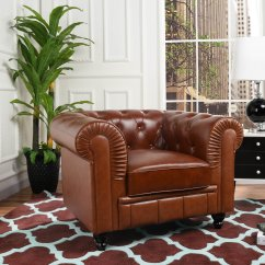 Leather Accent Chairs Folding Chair Storage Rack Classic Chesterfield Scroll Arm Tufted Light Image Is Loading