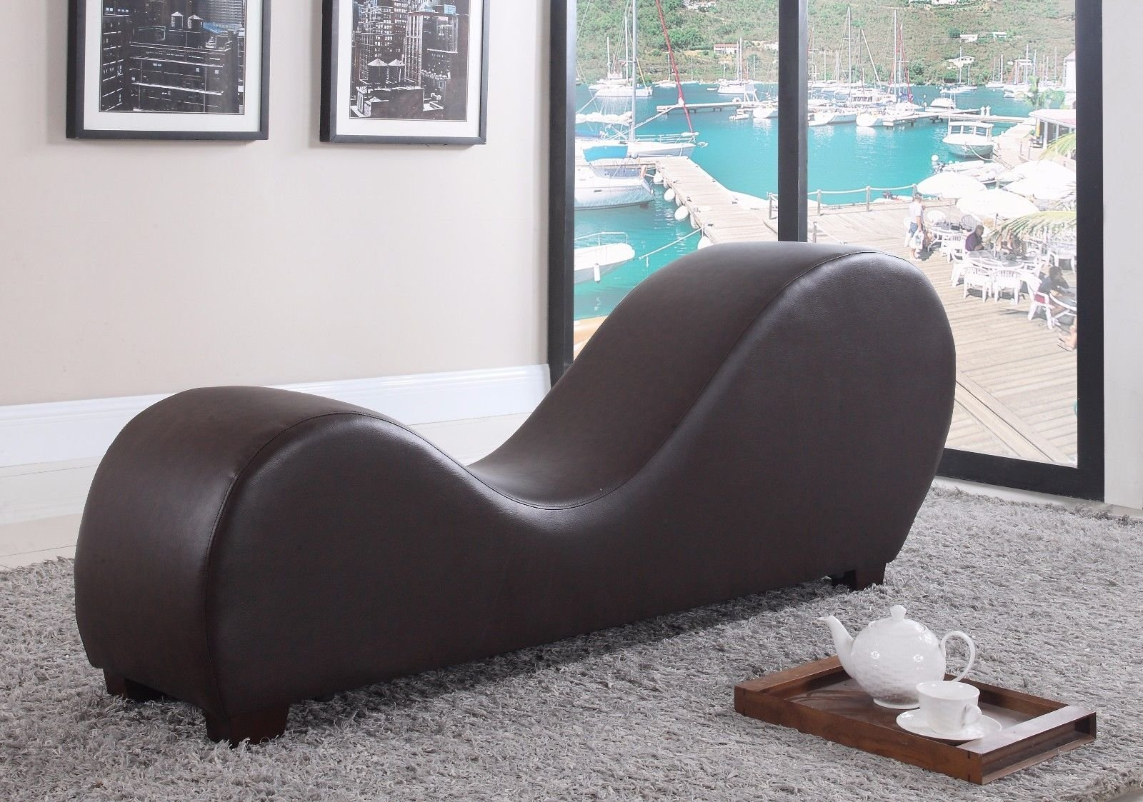 yoga sofa ikea sleeper brown modern bonded leather chair stretching relaxation chaise stretch relax lounge