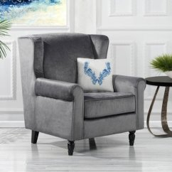 Fabric Accent Chairs Living Room Design Online Classic Scroll Arm Velvet Chair Armchair Grey Details About