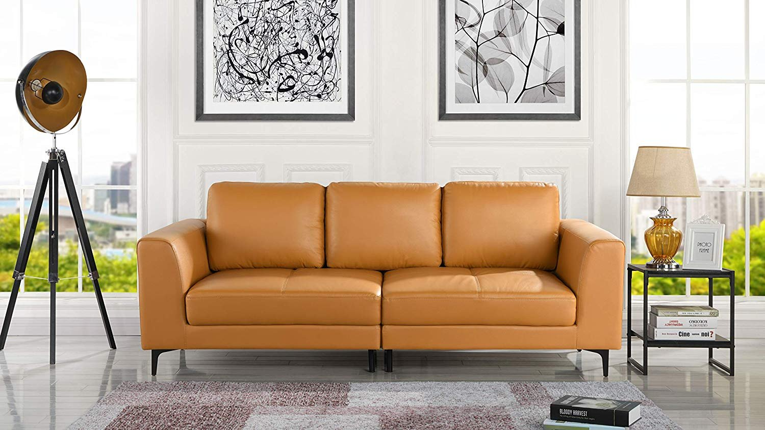 Details About Mid Century Modern Leather Fabric 3 Seat Sofa Couch 81 1 W Inches Light Brown
