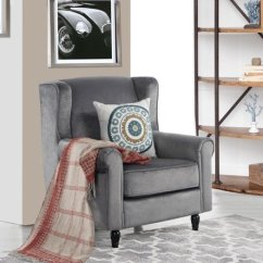Fabric Accent Chairs Living Room Painting Design Images Classic Scroll Arm Velvet Chair Armchair Details About Grey
