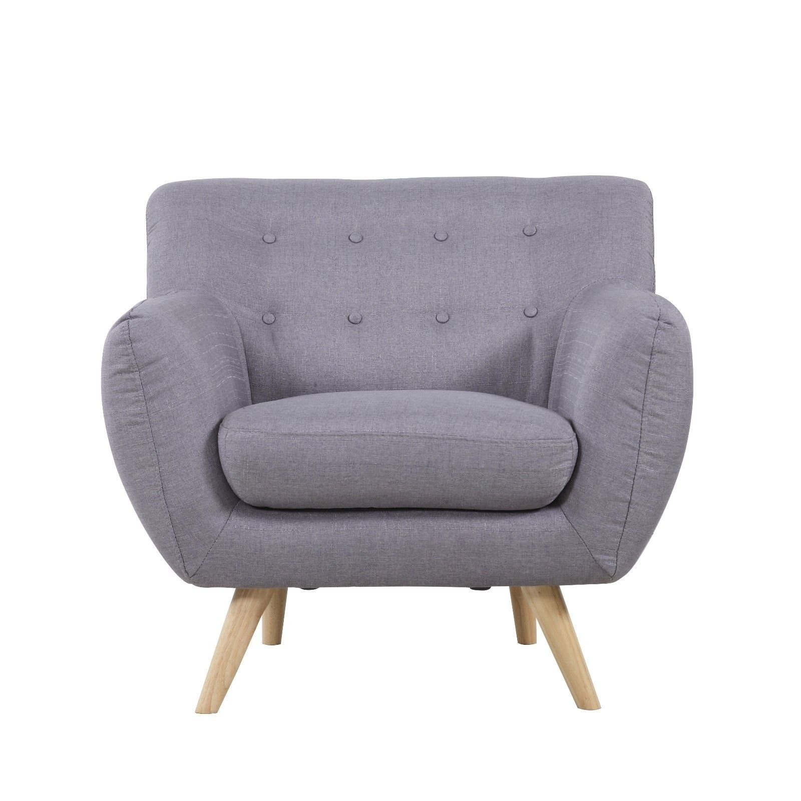 Mid Century Modern Accent Chair Details About Mid Century Modern Tufted Button Large Living Room Accent Chair Armchair Grey