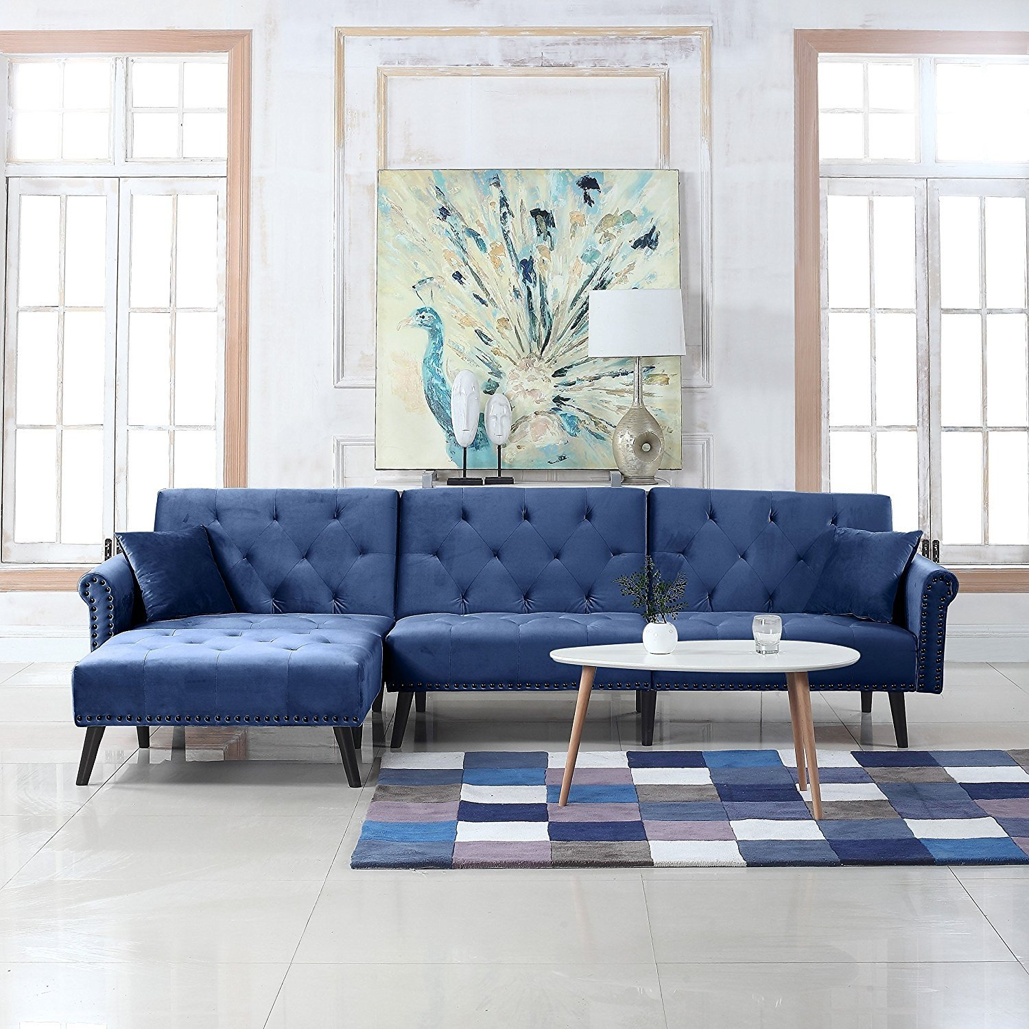 Details About Contemporary Modern Velvet Sleeper Futon Sofa Mid Century L Shape Couch Navy