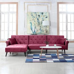 Futon Style Living Room Hgtv Decorating Ideas For Rooms Mid Century Velvet Sleeper L Shape Sofa Details About Rose Red