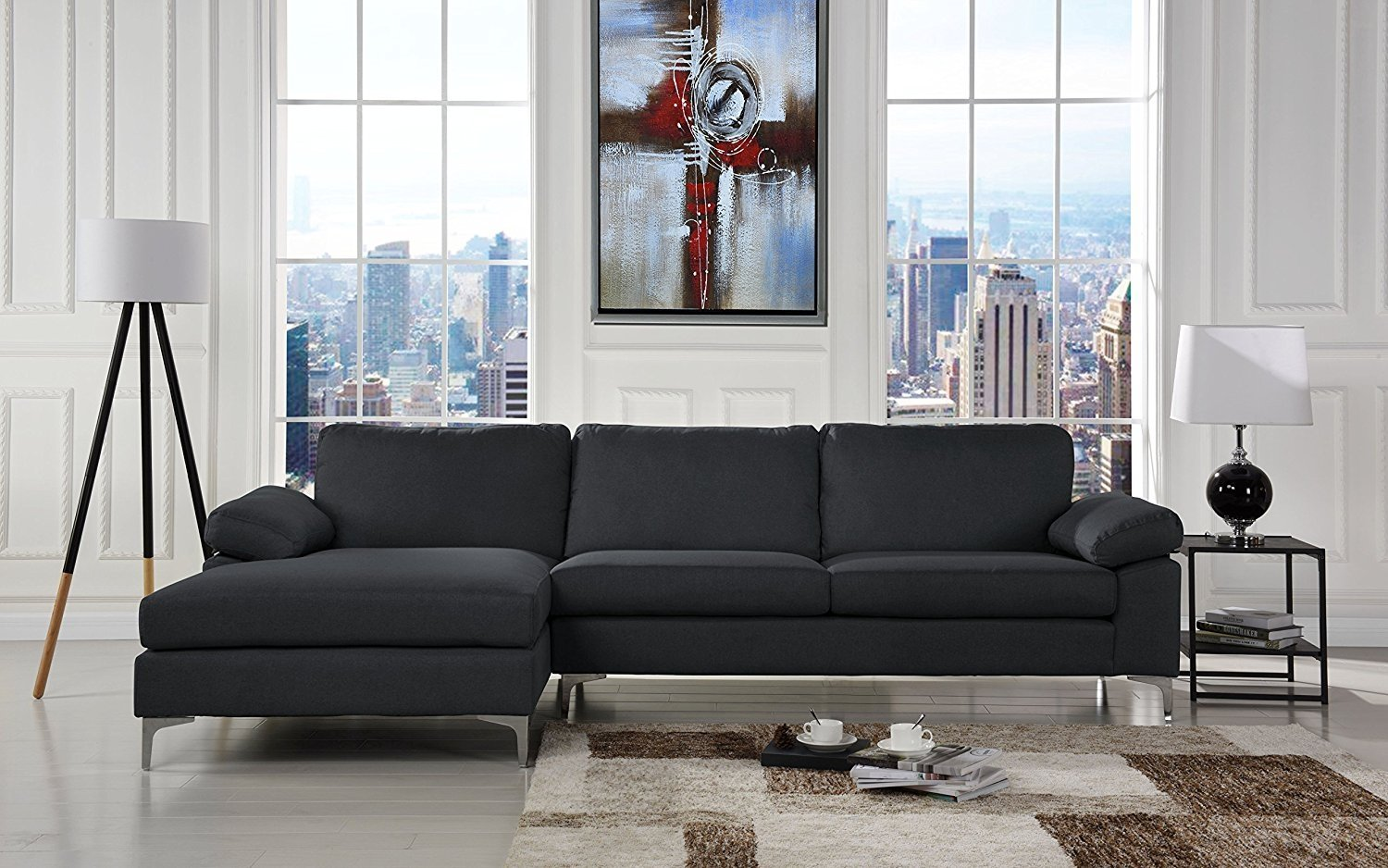 details about sectional couch dark grey left chaise lounge low profile frame sectional sofa