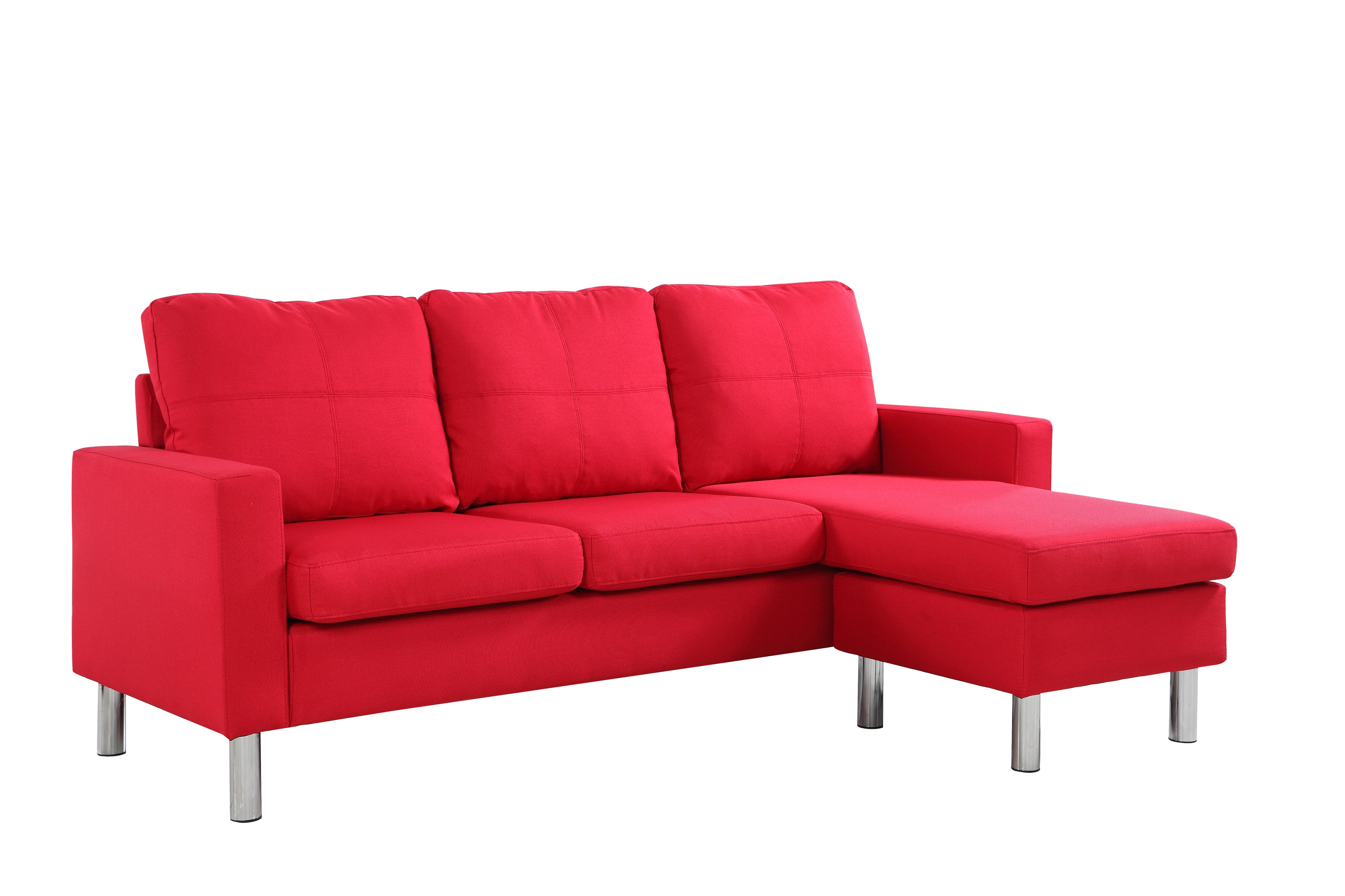 red modern sectional sofa accent chair set small space reversible linen fabric