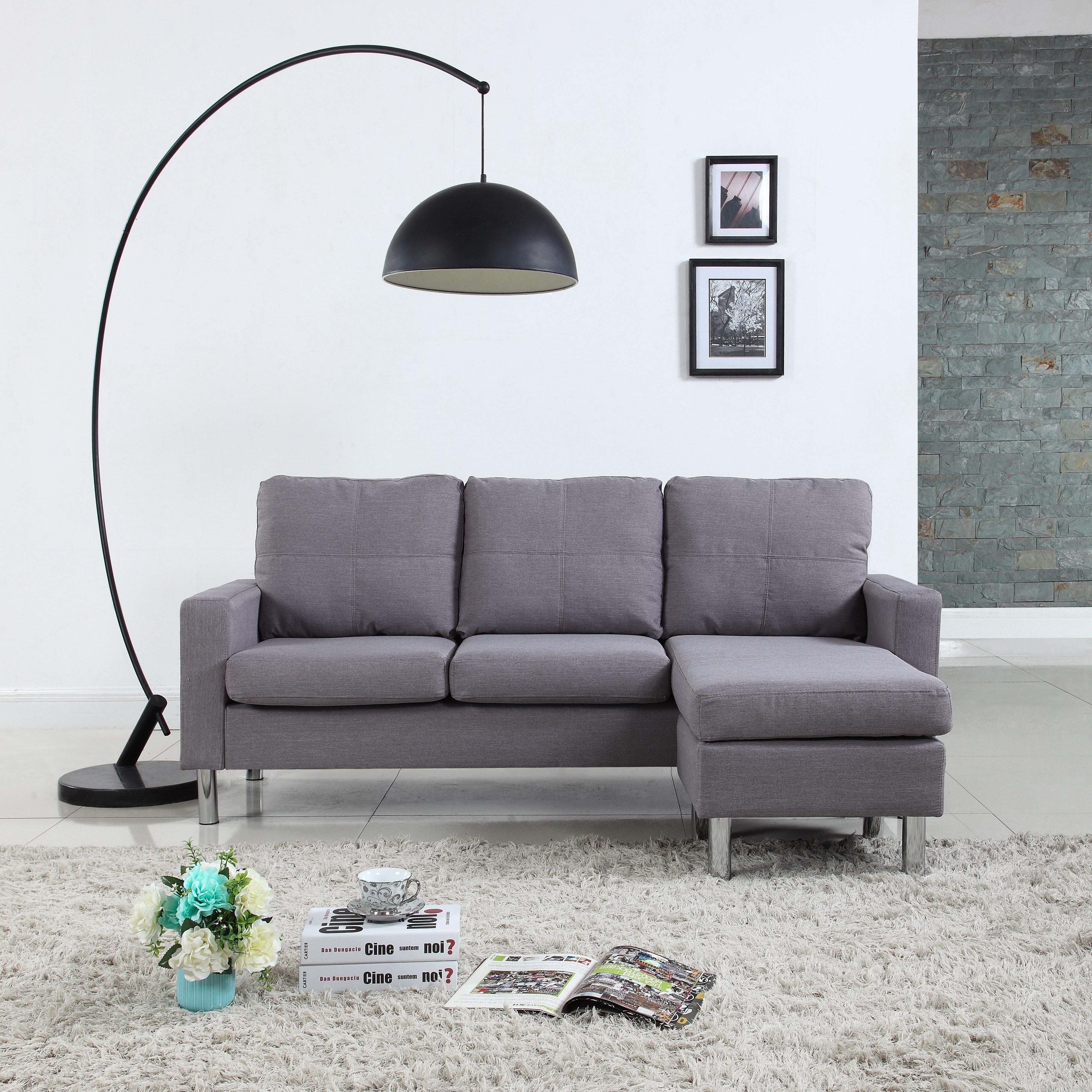 ashfield modern light grey fabric sectional sofa futons beds living reversible