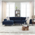 Details About Modern Large Velvet Sectional Sofa L Shape Couch Extra Wide Chaise Navy Blue