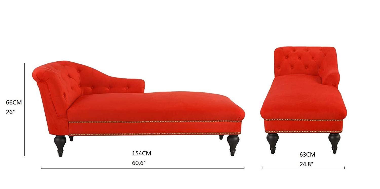 Elegant Velvet Chaise Lounge Living Room Bedroom Red