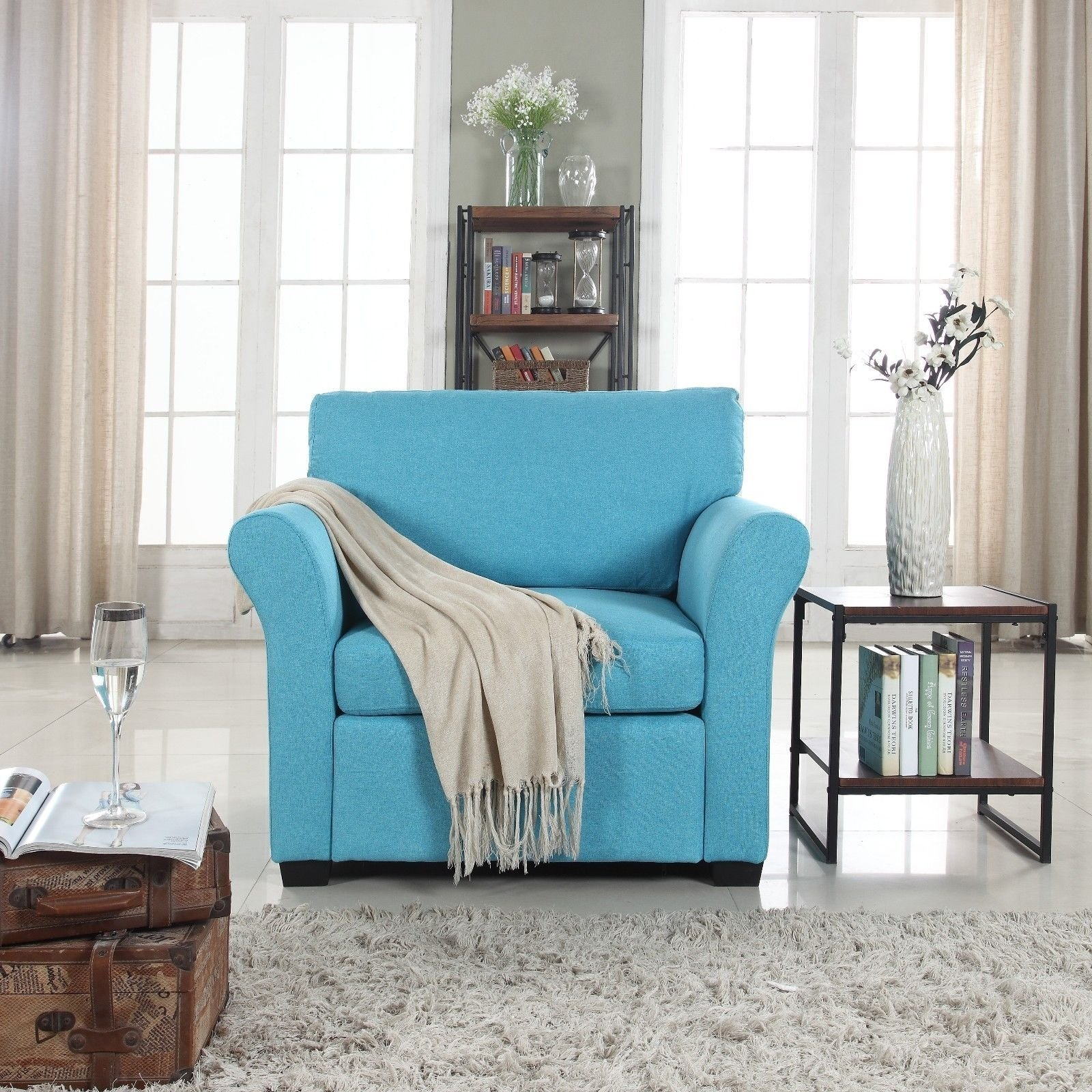 Accent Chair Living Room Details About Blue Classic And Traditional Linen Fabric Accent Chair Armchair