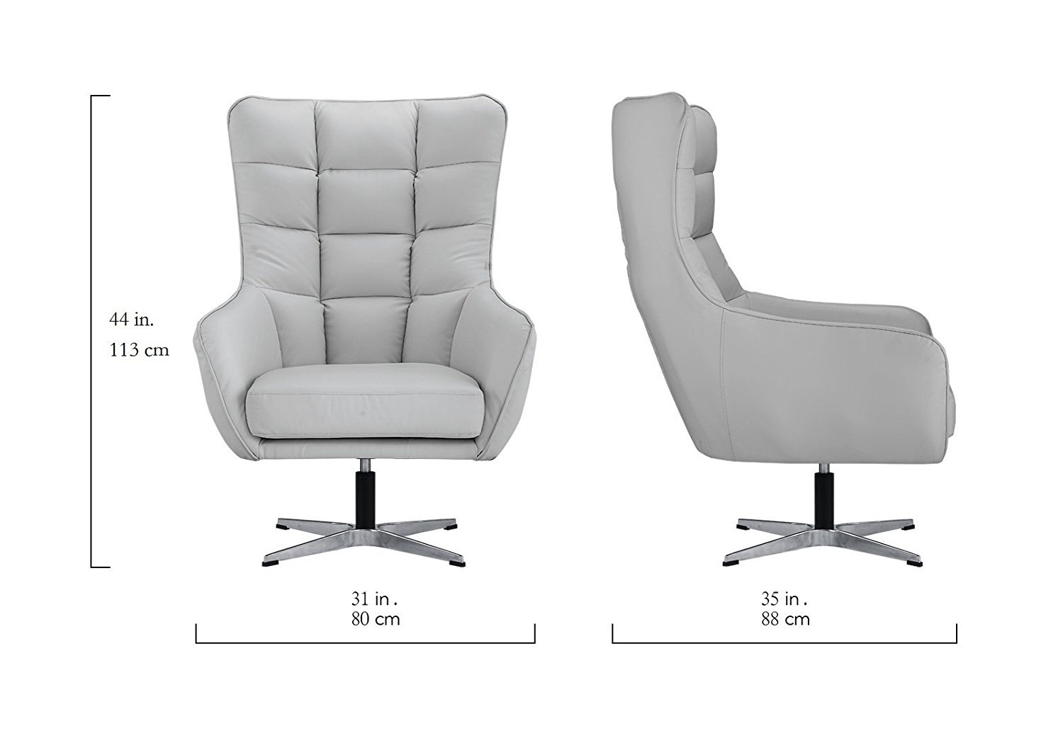 hight resolution of details about living room bonded leather fabric tufted armchair home office chair light grey