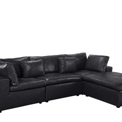 Large Chaise Sofa Leather Curved Sectional L Shape Couch With Wide