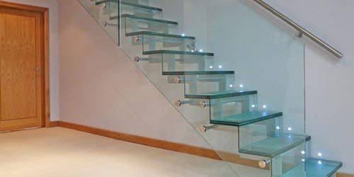 Stair Railings Beautiful Glass Railing Designs Steel Little Big   Staircase Steel Railing Designs With Glass   Banister   Duplex   Button Glass   Exterior Perforated Metal   Glass Balustrade Wood Post