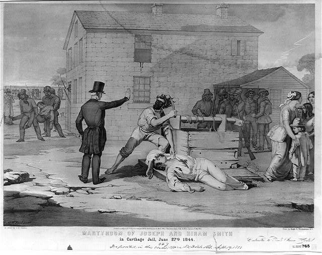 Martyrdom of Joseph and Hiram Smith in Carthage jail, June 27th, 1844
