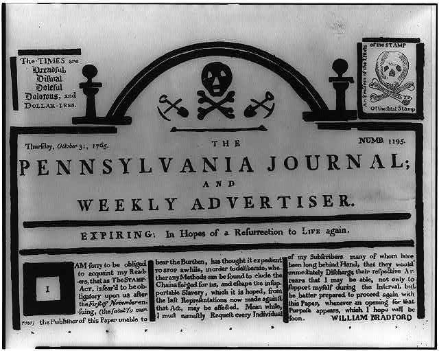 the revolution will be live tweeted acirc the junto the ldquotombstone editionrdquo of the pennsylvania journal 31 1765