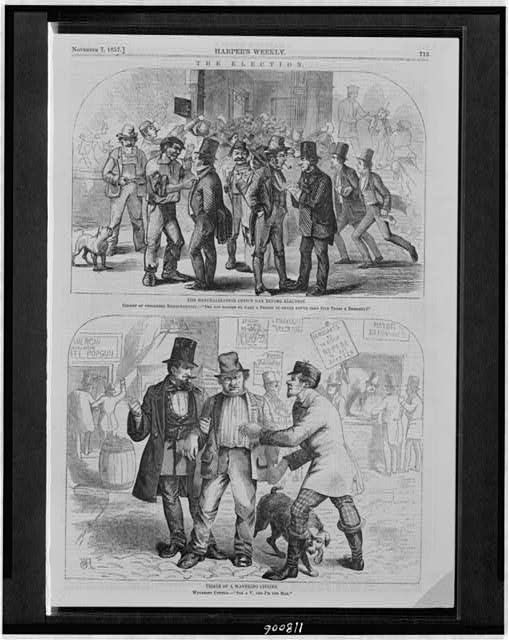 Illustration from Harper's Weekly, showing election persuasion at the polls. Library of Congress collection