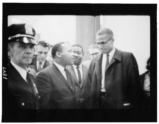 [Martin Luther King and Malcolm X waiting for press conference]