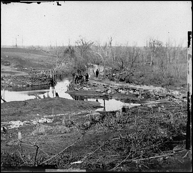 Cub Run, Va. View with destroyed bridge. Library of Congress image.