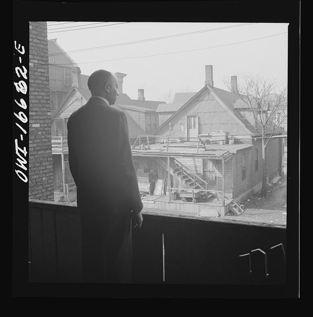 Detroit, Michigan. Looking over slum houses. These are conditions under which families originally lived before moving to the Sojourner Truth housing project